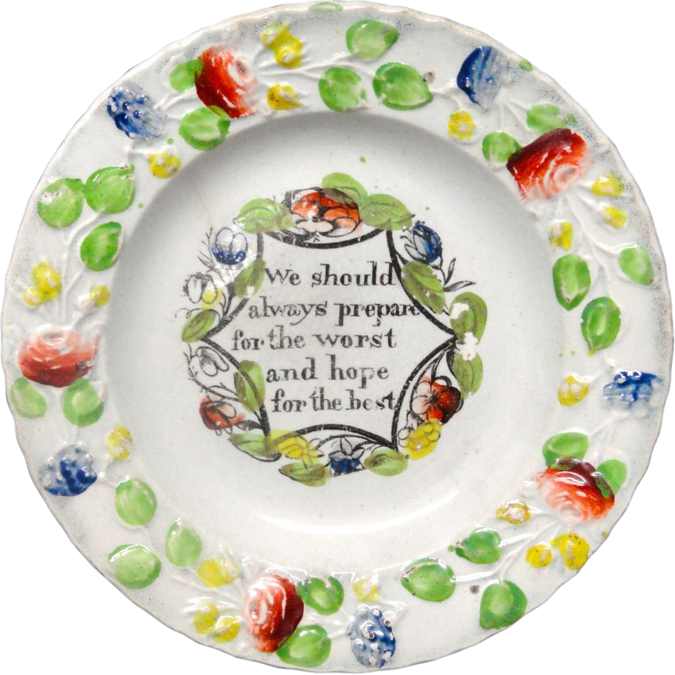 Creamware Pratt Decorated Motto Plate ~ Hope for the Best ~ 1830