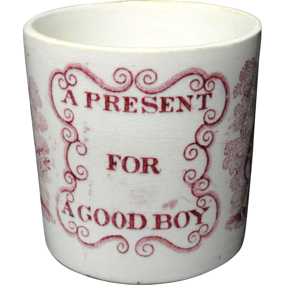 Pearlware Child's  Mug  ~ Present For A Good Boy 1840