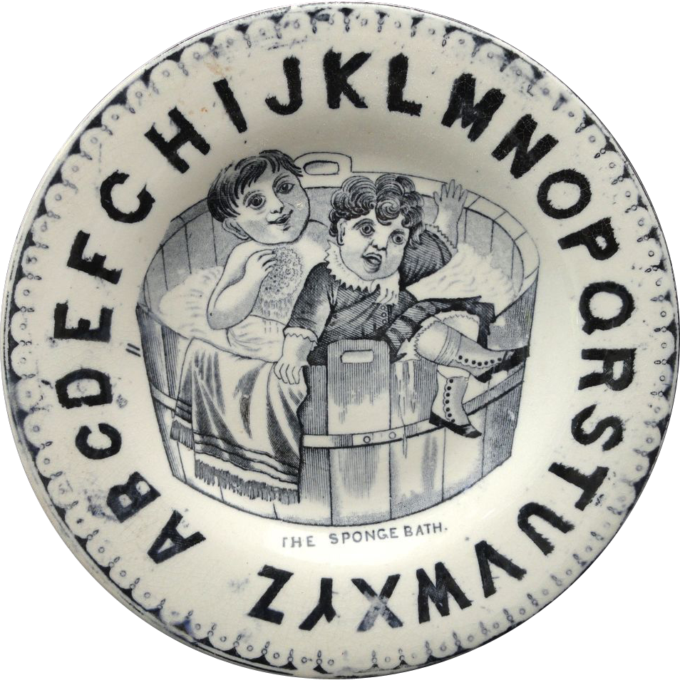 Amusing ABC Childs Plate The SPONGE BATH 1860 Staffordshire BOYS in TUB