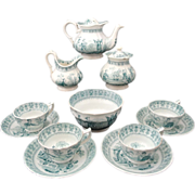 Early Staffordshire Child Tea Set Minton Chinese Pastimes 1849 Transferware