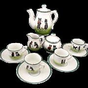 BLACK CATS Rare Childs Porcelain Tea Set German c1900 Bon jour Bonne nuit