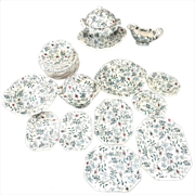 Early Pearlware Dollhouse Toy Dinner Set ~ Green Polychrome Floral Chintz Sheet Print c1835 Meigh