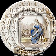 Victorian Alphabet ABC Plate ~ Nursery Tales ~ Cinderella ~ 1880