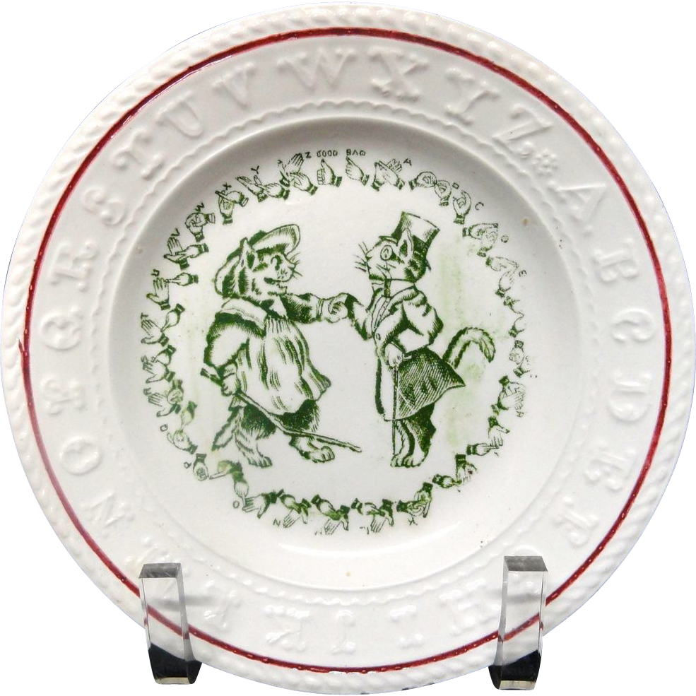 Antique Rare Child's Double ABC Plate ~ CATS ~ Sign Language