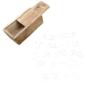 19th Century Carved Bone Alphabet Letters Within a Wood DoveTail Jointed Box ABC