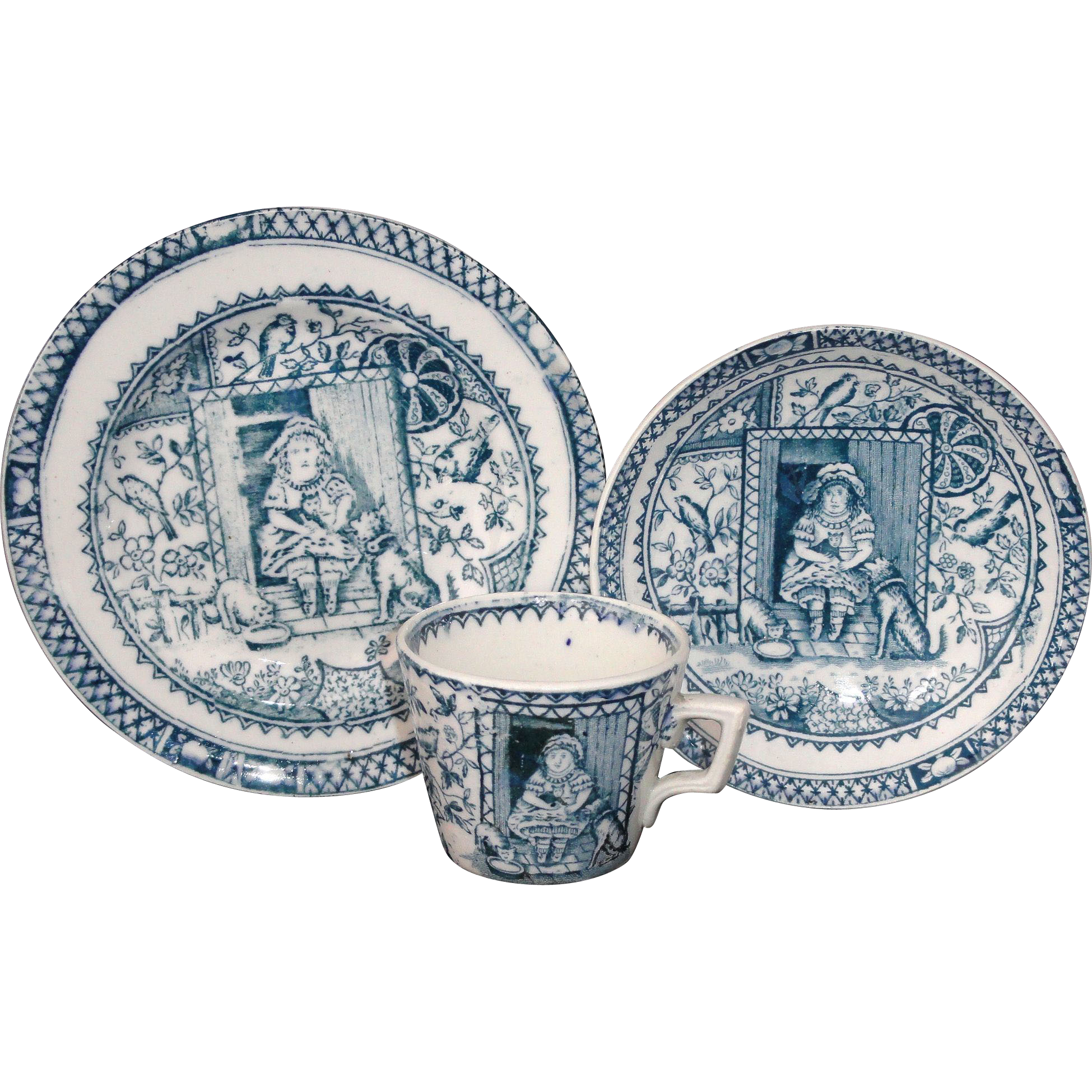 Child's Marine Blue Transferware Tea Set Trio LITTLE MAE WITH PETS Charles Allerton & Sons Staffordshire England c 1890