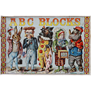Victorian Paper Litho ABC Blocks Illustrated Alphabet in Original Box c1880