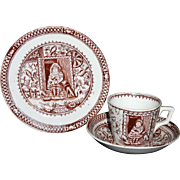 Child's Sepia Brown Transferware Tea Set Trio LITTLE MAE WITH PETS Charles Allerton & Sons Staffordshire England c 1890
