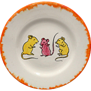 THREE BLIND MICE Childs Toy Plate 1935 Staffordshire Nursery Rhymes Feather Edge