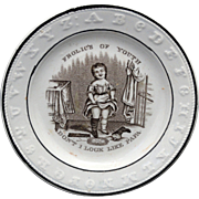 Staffordshire Childs ABC Plate Frolics of Youth Girl Wearing Papa's Boots c1860