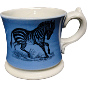 Early Slip Decorated Childs Transferware Mug ~ Zebra + Goat ~ 1840