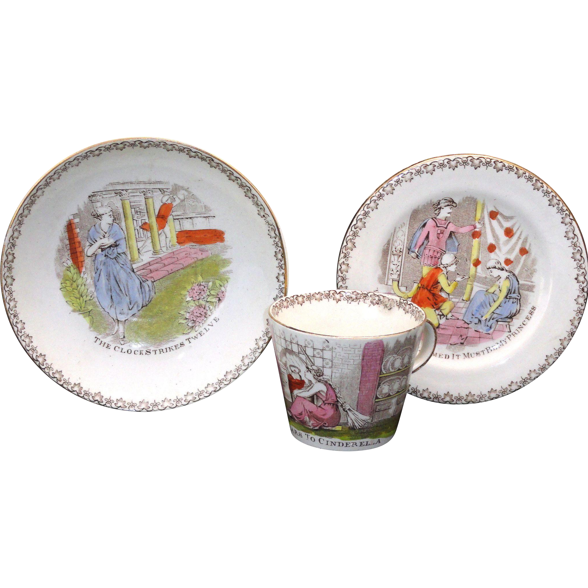 Cinderella & Prince Charming Childs Tea Set TRIO Sepia Transferware c1880