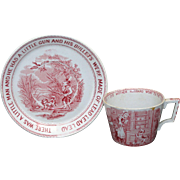 Child Transferware Toy 2pc Tea Set NURSERY RHYMES Old Mother Hubbard Dog c1888