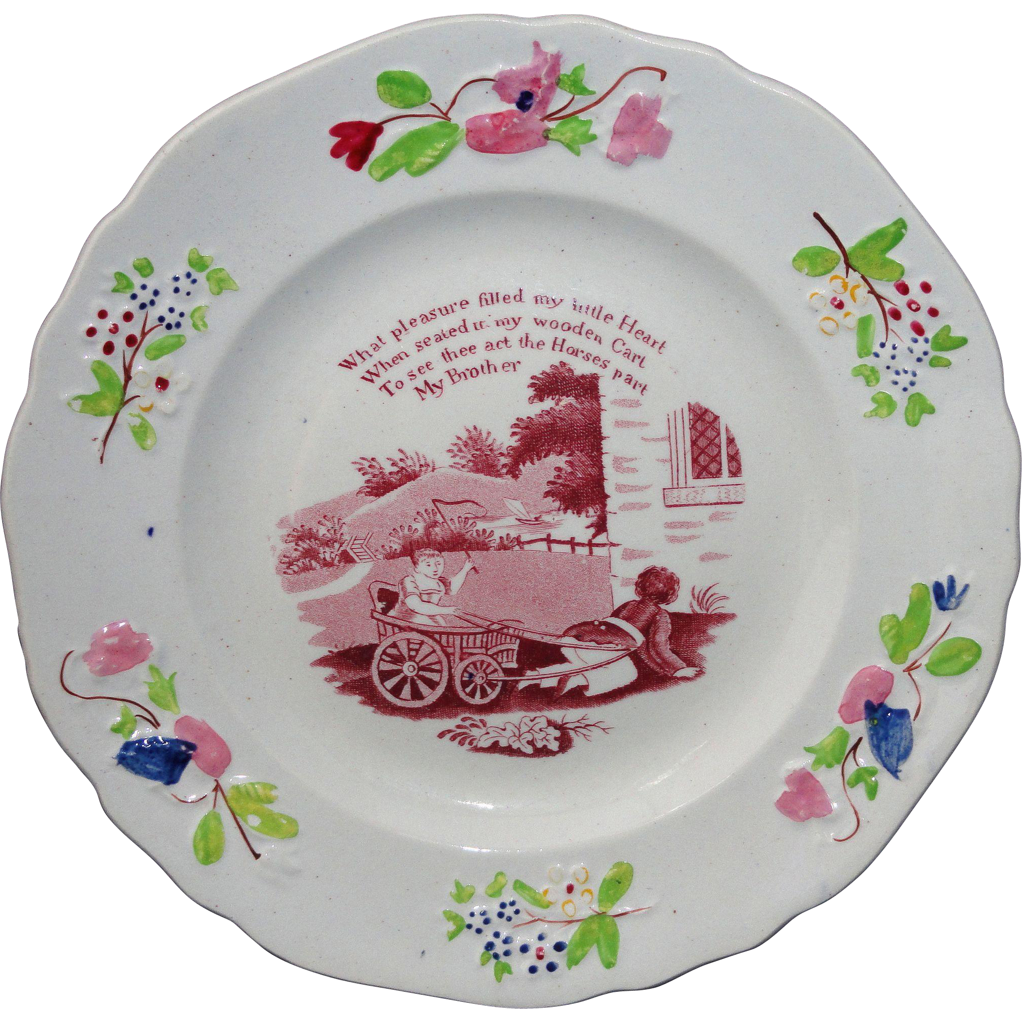 Early Colorful Transferware Childs Plate ~ MY BROTHER ~ Staffordshire c. 1820