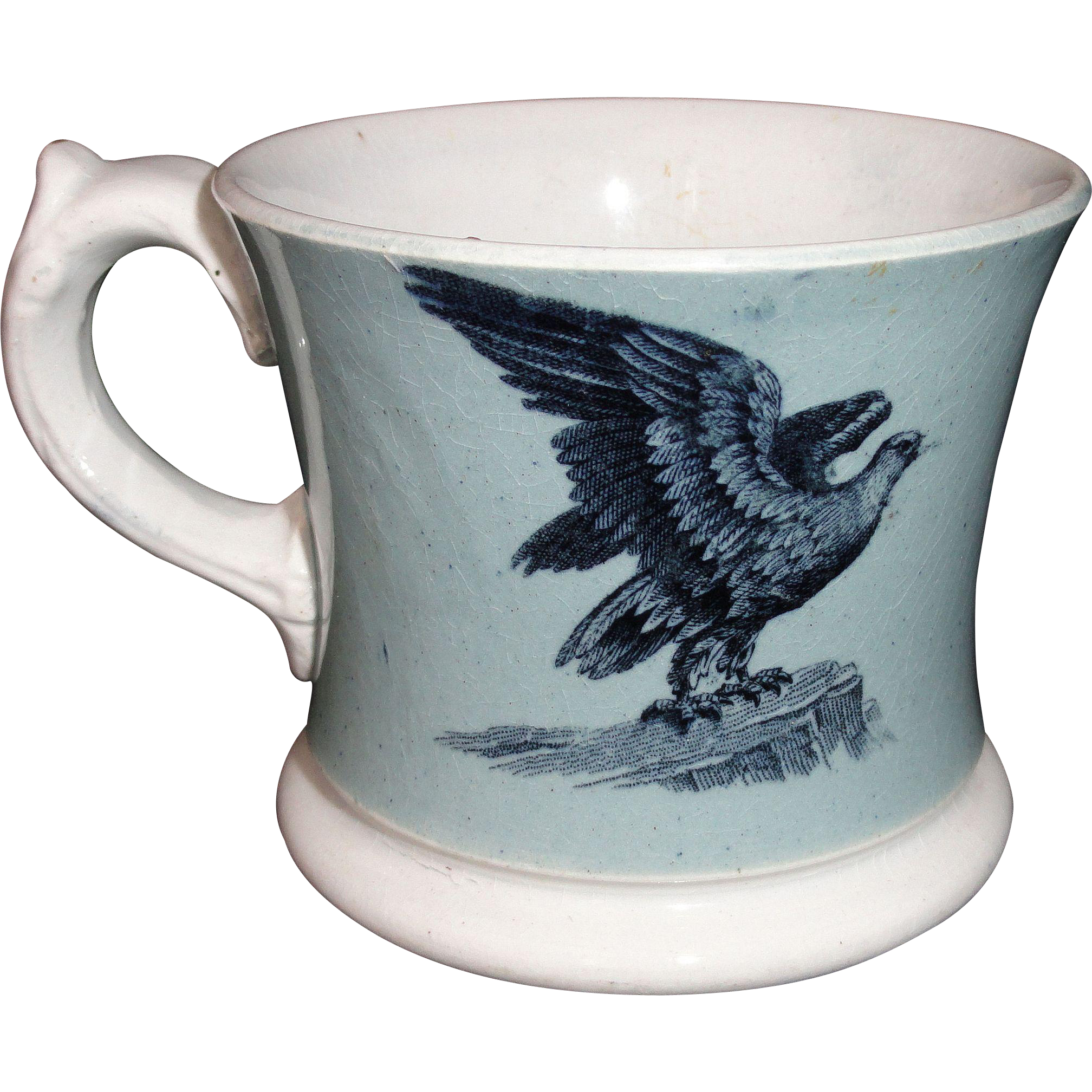 Early Slip Decorated Childs Transferware Mug ~ American Eagle & Dairy Cow ~ 1840