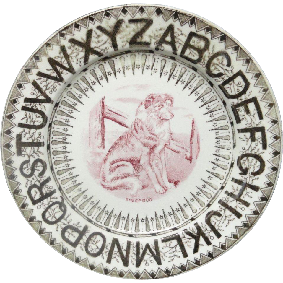Rare Bi-Color ABC Plate ~ Sheep Dog ~ 1870