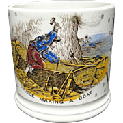 Alphabet ABC Mug ~ Crusoe Making A Boat ~ 1880