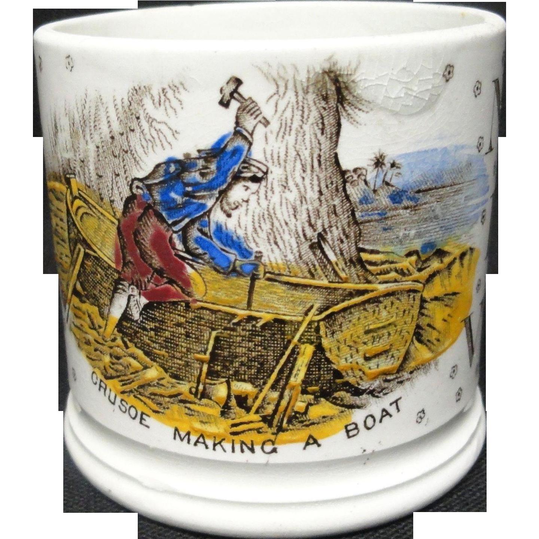 Alphabet ABC Mug ~ Crusoe Making A Boat ~ 1880