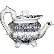 English Pearlware Childs Miniature Teapot FLOWER BASKET  Hackwood Staffordshire England c. 1830
