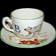 Childs ABC DEF Cup & Saucer Set Zoo Alphabet Adderley Staffordshire 1940