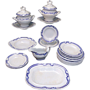 Rare English Childs Blue Edge Ironstone Dinner Set Charles Meigh 1825