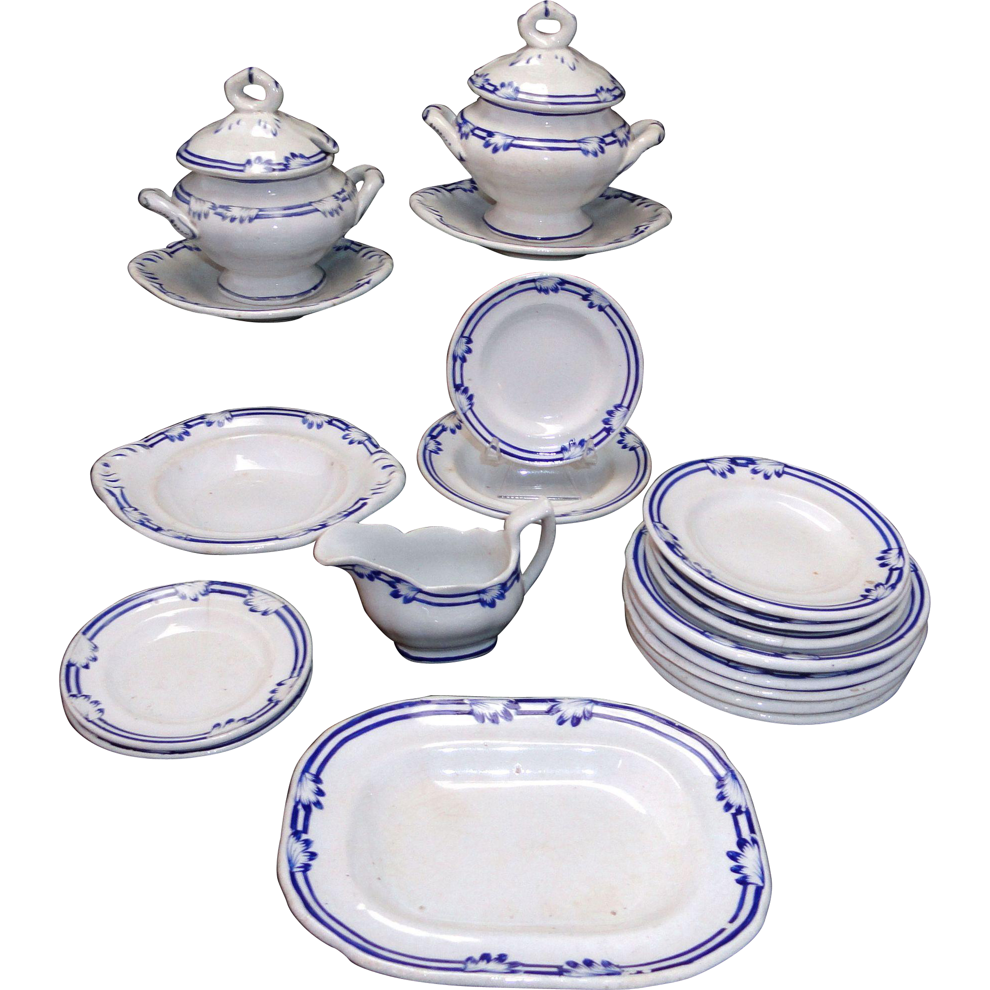 Rare English Childs Blue Edge Ironstone Dinner Set Charles Meigh 1825