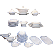 Antique English Dollhouse Ironstone 48pc Dinner Service BLUE FEATHERED EDGE Minton Staffordshire c 1820