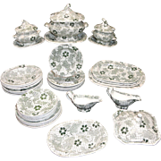 Miniature Childs Transferware 35 pc Dinner Service GREEN TRELLIS Copeland & Garrett Staffordshire England c1835