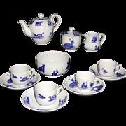 Childs Flow Blue Transferware Tea Set ANIMALS  Copeland late Spode Stoke-on-Trent England c1880
