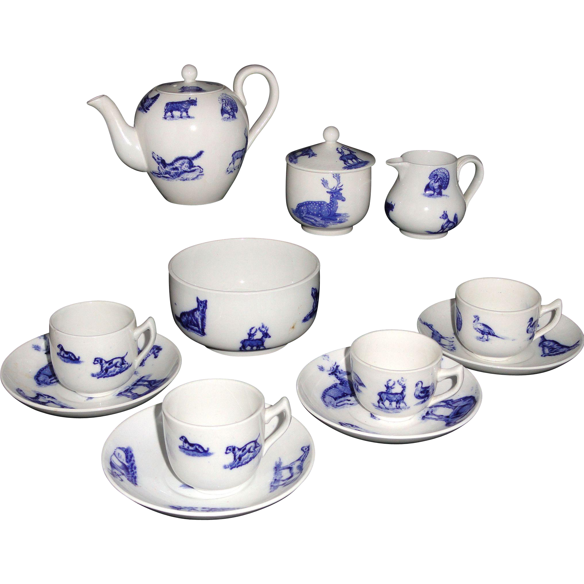 Childs Flow Blue Transferware Tea Set ANIMALS  Copeland late Spode Stoke-on-Trent England c1880