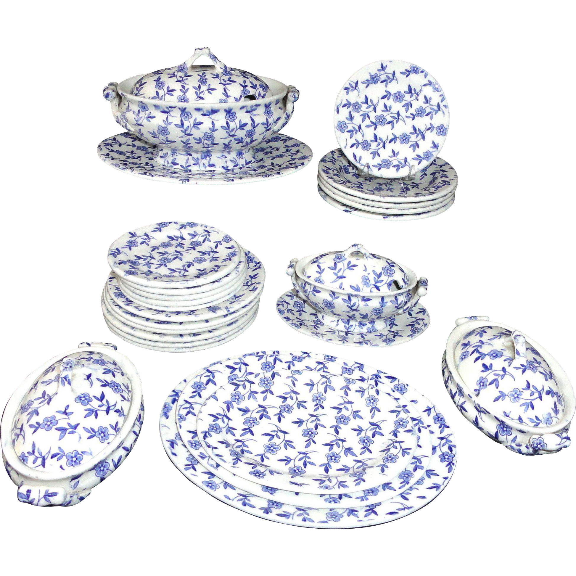 30-piece Childs Ironstone COBALT BLUE Transferware Dinner Set DAISY CHAIN Ridgway Staffordshire c1890