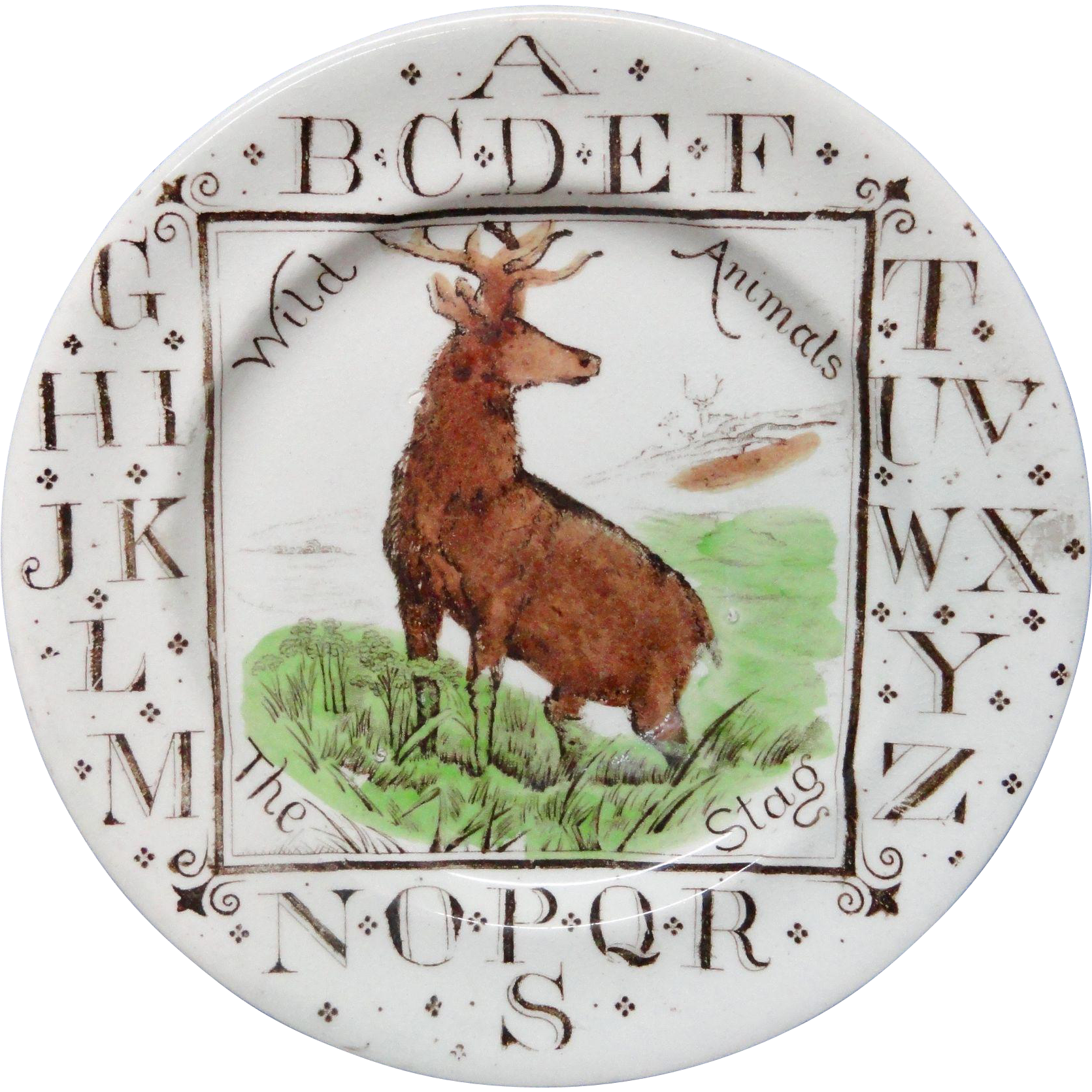 English ABC Plate ~ Wild Animals ~ The STAG ~1880
