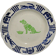 French Childs Miniature Toy Plate DOG Alligator Bear Animals CREIL c1910