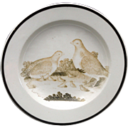Early Wedgwood Creamware PARTRIDGE Chicks Cup Plate Sepia Bat Print c1820