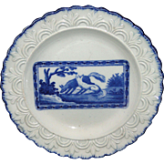 Staffordshire Childs Pearlware Blue Feather Edge Plate PLAYFUL FOXES c1800