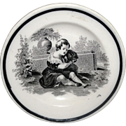 Black Staffordshire Childs Spaniel Dog Cup Plate c1840 Transferware Ludwig Sale