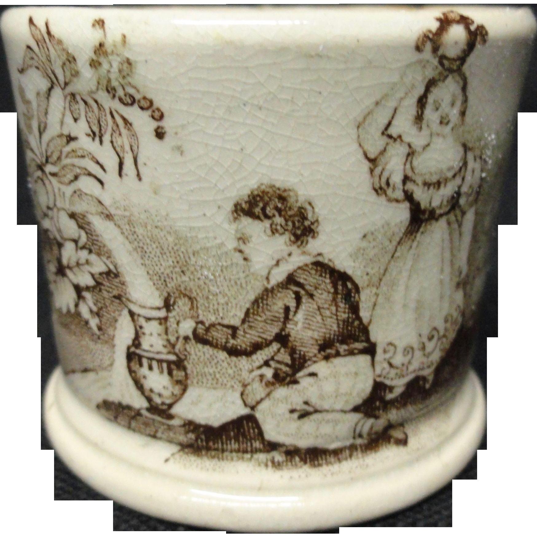 Brown Miniature Staffordshire  Mug ~ Children Watering 1830