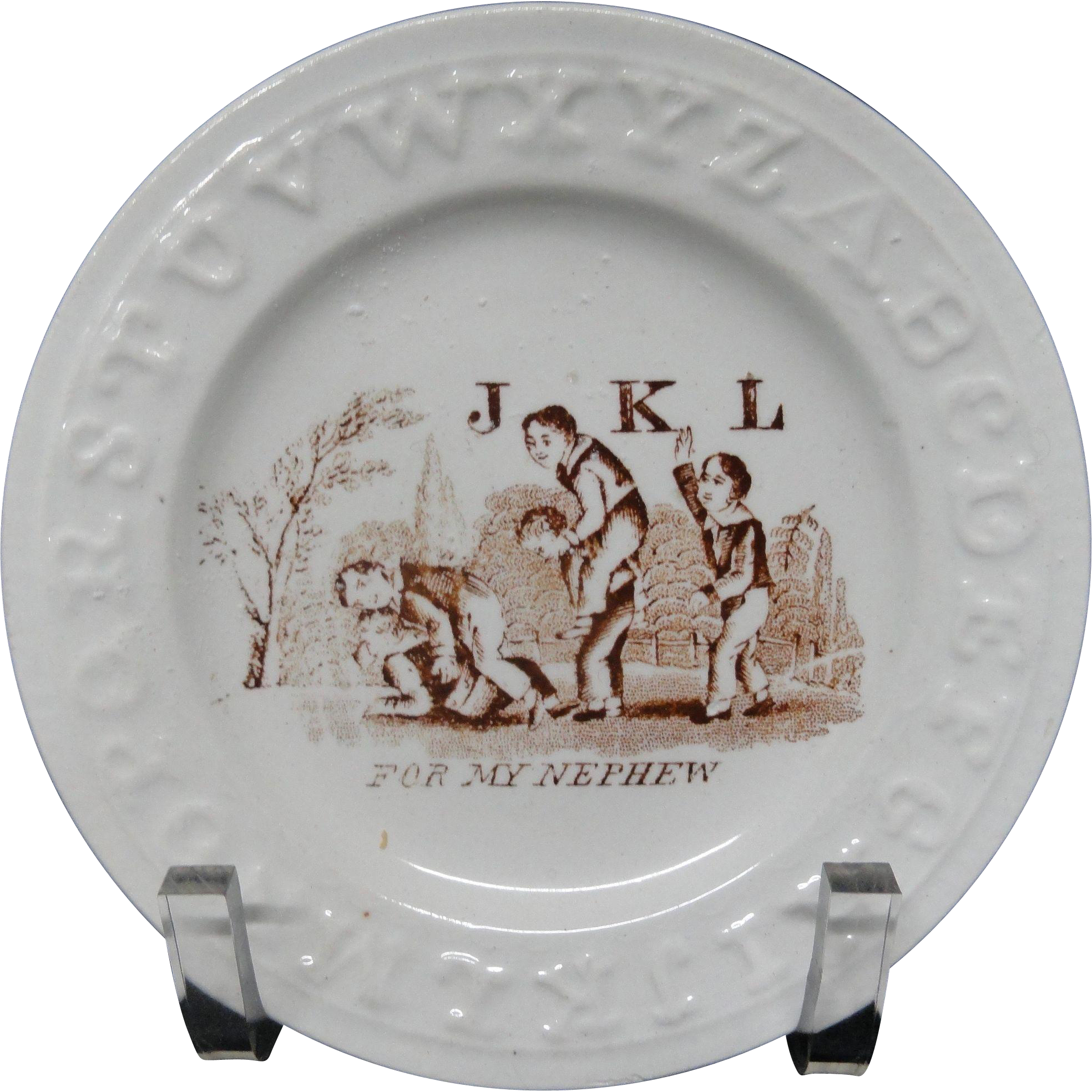 Brown Transfer ABC Plate ~ For my Nephew ~ 1850