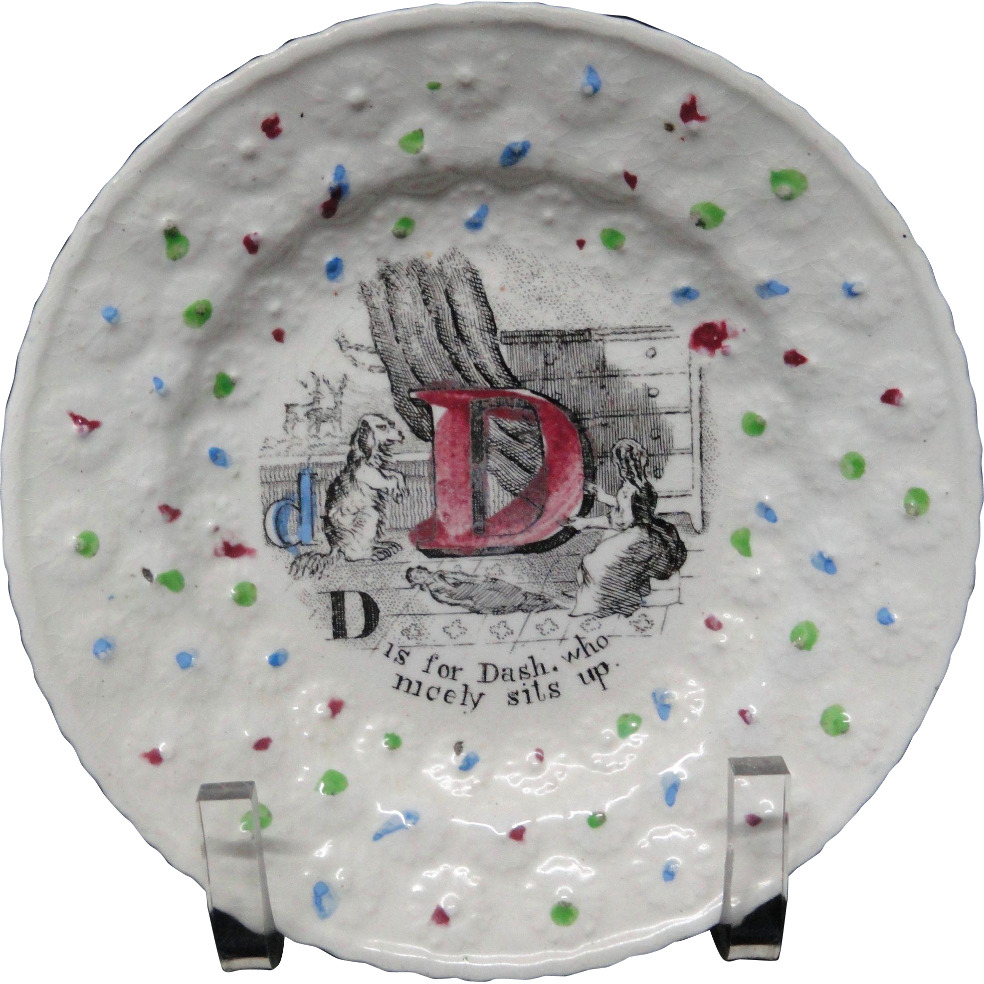 Staffordshire Childs Transfer Plate ~ D is for Dash ~ 1840