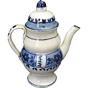 Rare Miniature Dometop Coffee Pot Pearlware Paint Decorated Staffordshire Leeds c1800