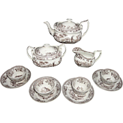 Early Brown Transferware Childs Tea Set JAPONICA Ridgway c1840 Staffordshire