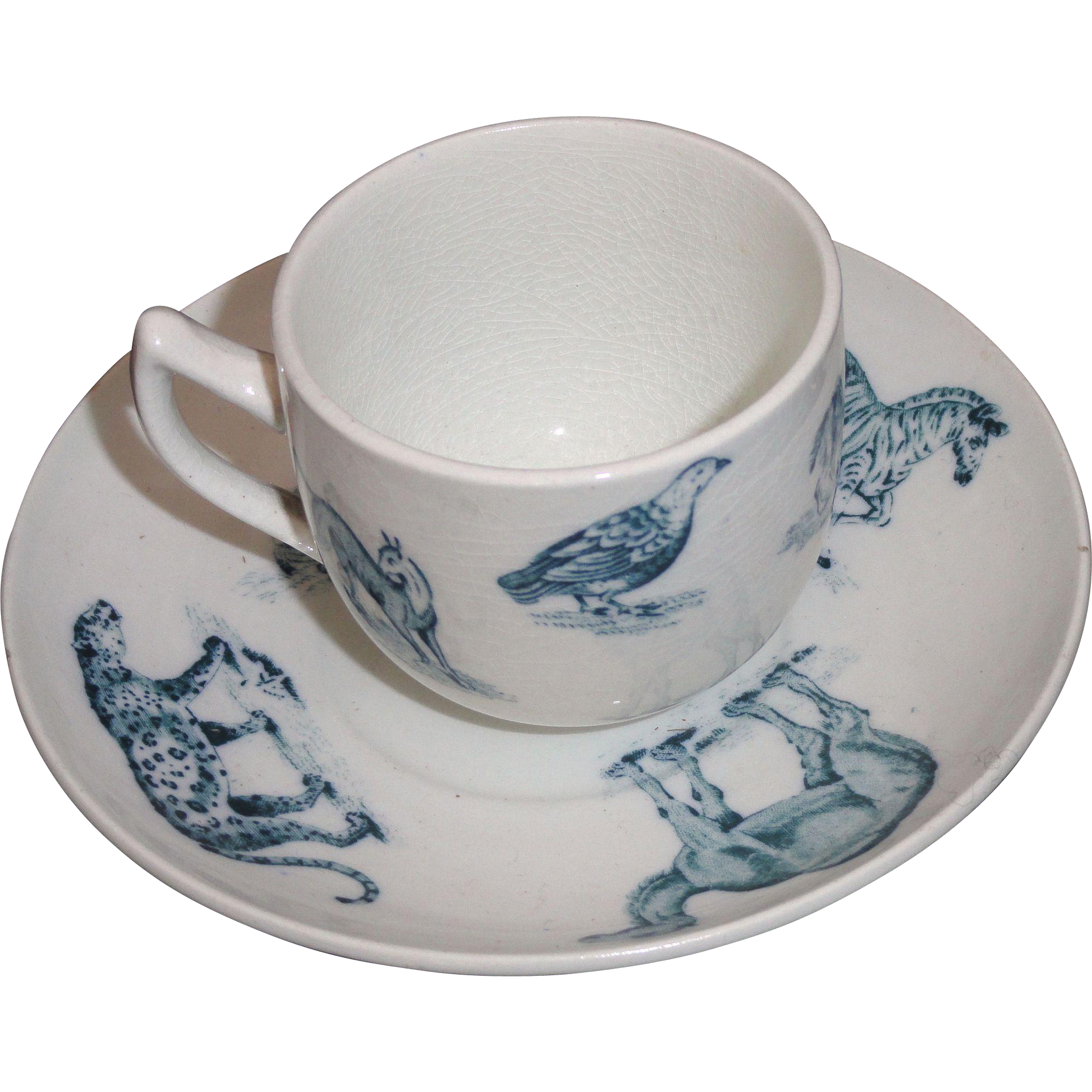 Early Copeland Child Animal Toy Cup & Saucer Zebra Leopard Camel Critters 1905