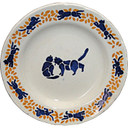 French Childs Miniature Toy Plate CATS CATS CATS Creil France c1910