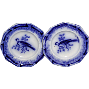 2x Flow Blue Miniature Toy Dinner Plate c1840 Asiatic Bird Staffordshire Meigh