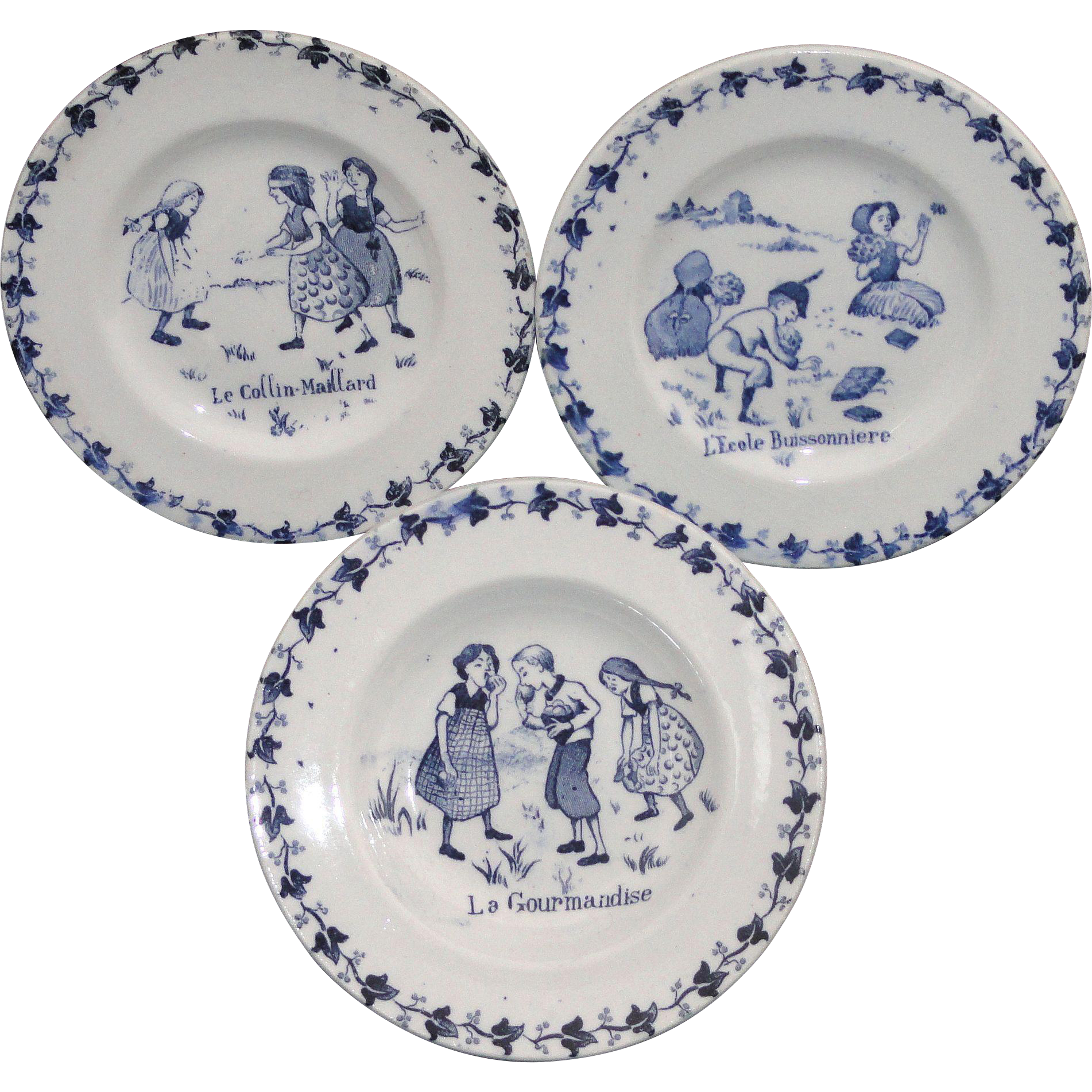 French Miniature Plate Trio CHILDHOOD AMUSEMENTS Apples Games GIEN c1900 Transferware