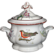 Minton Childs Polychrome Enamel Sugar Box BIRDS & GARDEN FLOWERS Staffordshire c1845