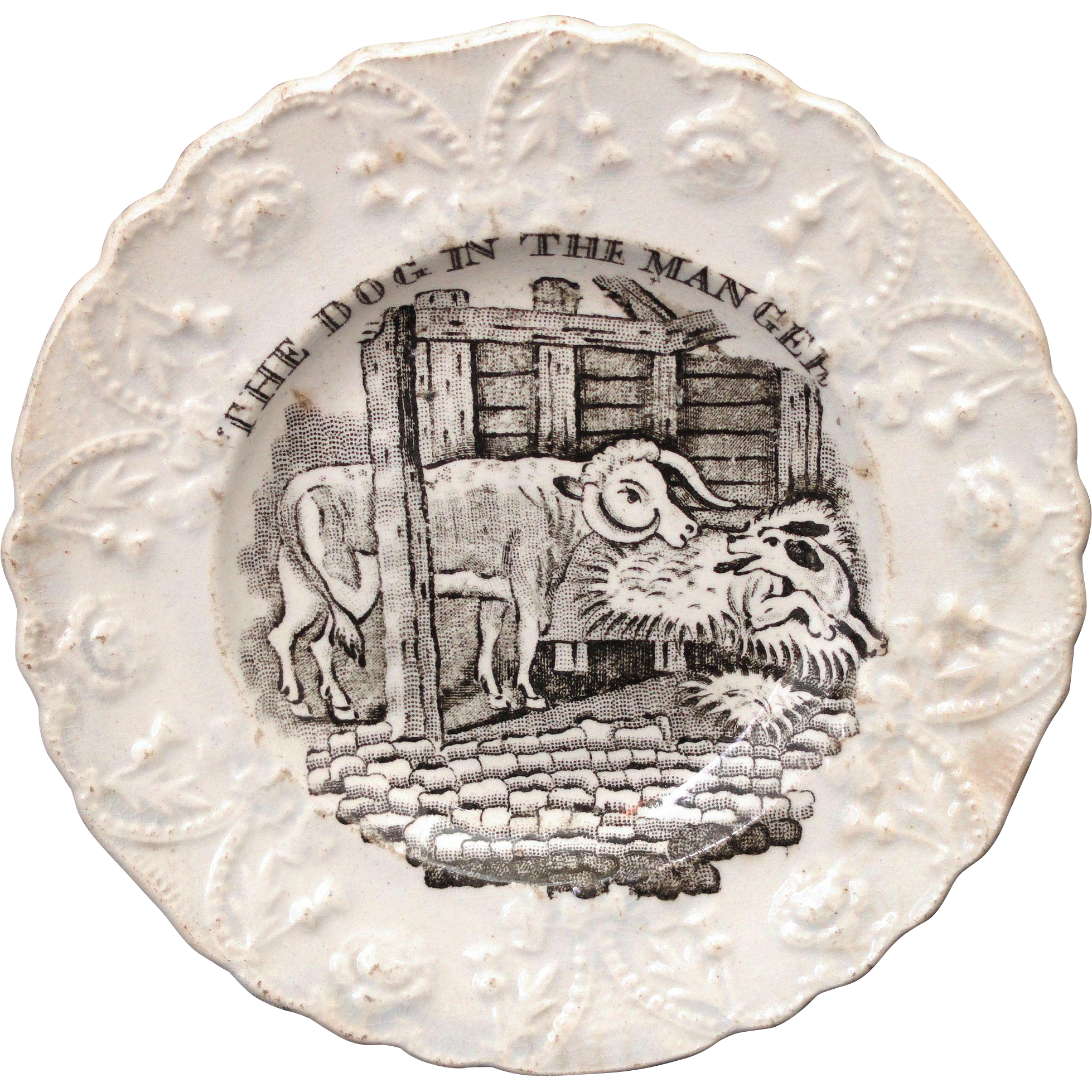 Early Aesops Fables Plate ~ DOG in the MANGER ~ Staffordshire Pearlware
