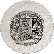 Staffordshire Childs Plate AESOPS FABLES ~ THE BEAR & THE BEE HIVES c. 1835