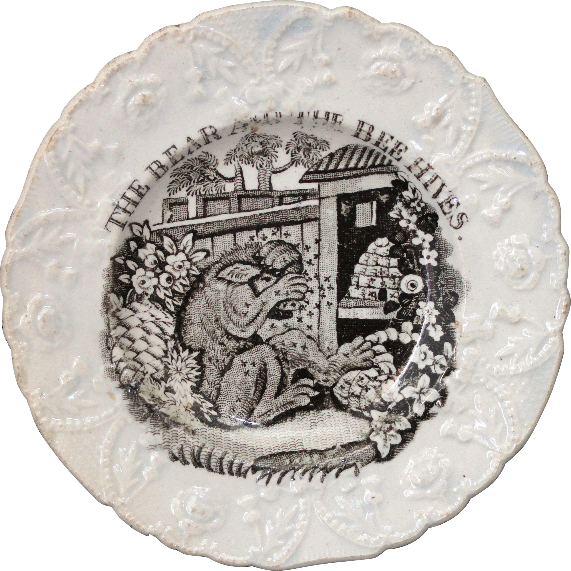 Staffordshire Childs Plate AESOPS FABLES ~ BEAR & BEES c 1835 Beehive