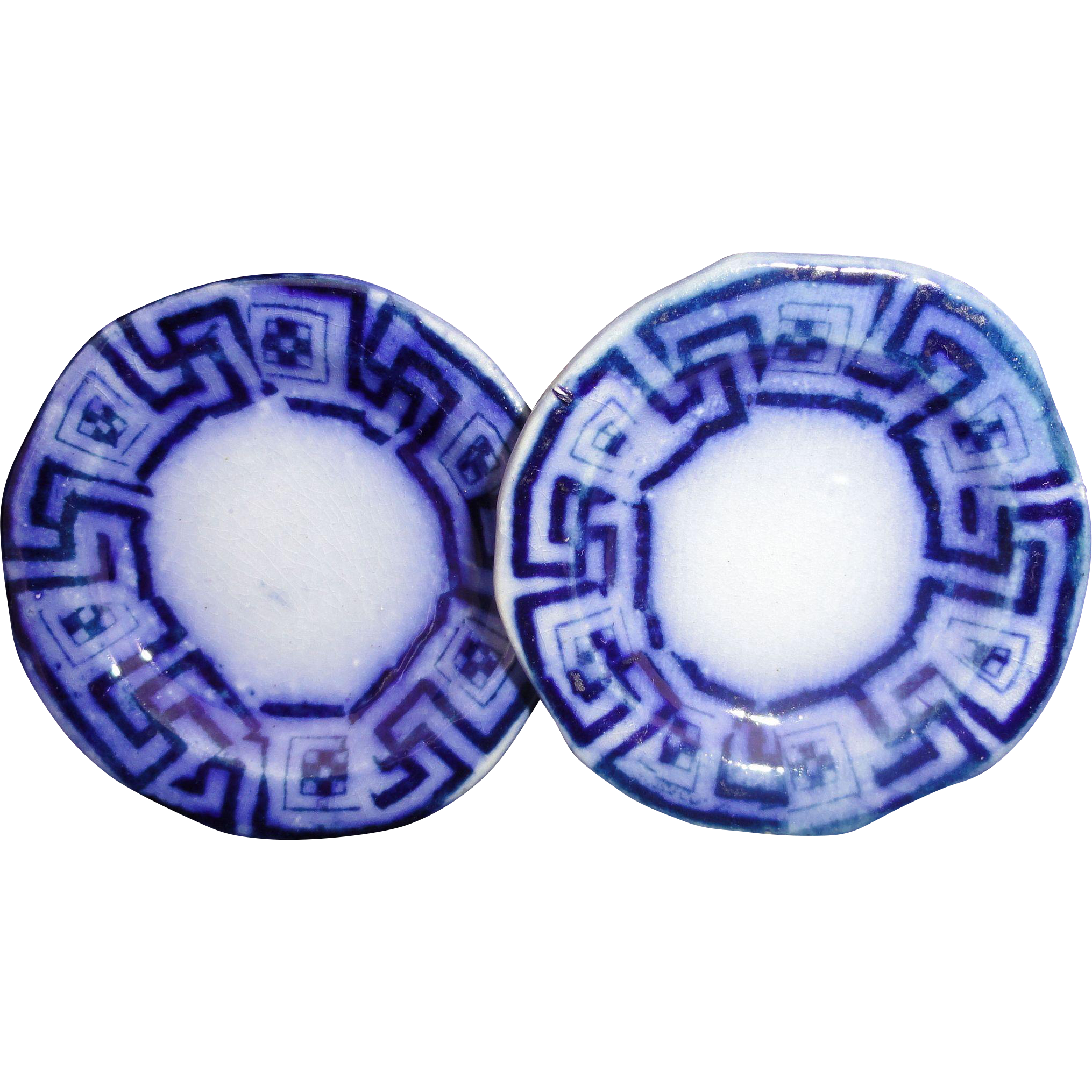 2x Flow Blue Miniature Toy Plates 2.5 inch Greek Key c1820 Staffordshire Meigh